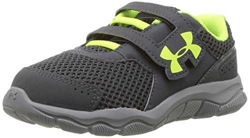 Under Armour Boys' Boys' Infant Engage 3 Adjustable Closure, Stealth Gray/Steel/High-VIS Yellow, 6K M US - For Six Pack Running A