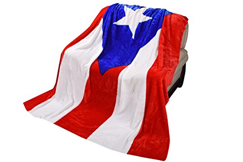 Puerto Rican Two Layer Blanket,75 Inches by 90 Full Queen Bed,Ultra Plush Korean,Micro-mink,Bed-throw, Warm (Pr Flag 2ply)