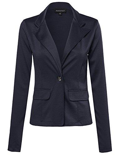 Single-Breasted+Knit+Blazer+Navy+Size+M
