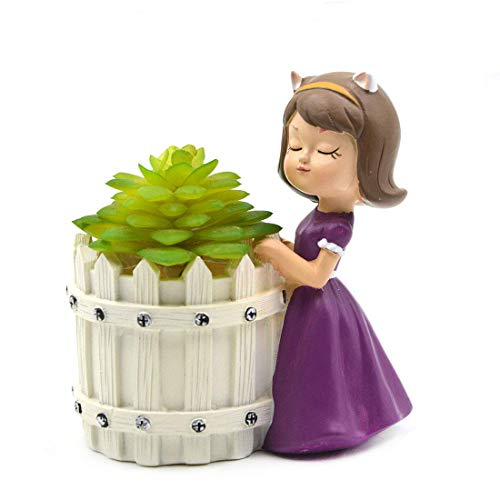 Flower Dress Pot - Youfui Pretty Girl Flowerpot Resin Purple Dress Succulent Planter Desk Mini Ornament (Idyllic Girl-Pretty)