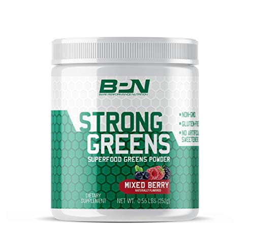 Bare Performance Nutrition, Strong Greens Superfood Powder, Antioxidants, Non-GMO, Gluten Free and No Artificial Sweeteners, Wheat Grass, Coconut Water, Turmeric and Monk Fruit (Mixed Berry)