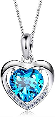 dame pierre les femmes crystal argenté l/'amour collier pendentif cœur