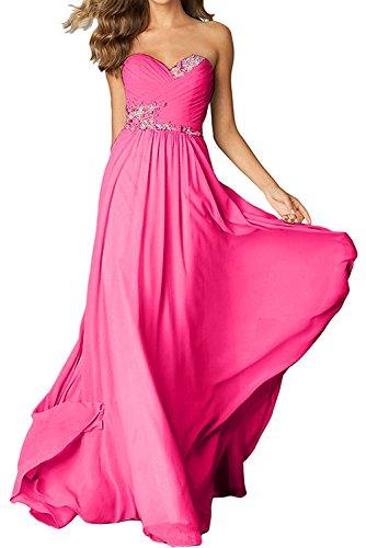 Champagner La Braut Lang Abschlussballkleider Chiffon Pink Lang Ballkleider Festlichkleider mia Abendkleider A Linie ErUqr