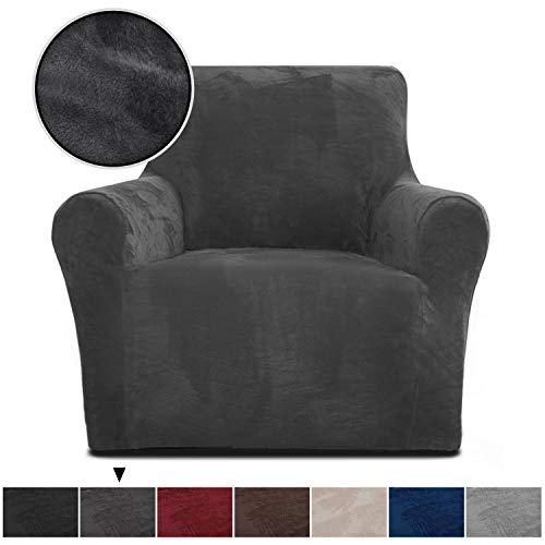 Rose Home Fashion RHF Chair Slipcover,Jacquard Stretch Chair Cover,Chair Slip Cover for Leather Couch-Polyester Spandex Slipcovers for Chairs (Dark Grey-Chair) (Sofa And Chair Grey)