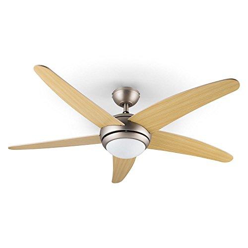 Klarstein Bolero Deckenventilator mit Licht und Fernbedienung (134cm Ventilator für Decke, leise 55W, 5x Holz-Ahornflügel, Milchglas-Deckenleuchte,3 Geschwindigkeiten, inkl. Deckenhalterung) silber-braun