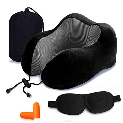 Travel Pillow, Aisprts 100% Pure Memory Foam Neck Pillow, Comfortable & Breathable Cover, Machine Washable, Super Soft Pillow, Airplane Travel Kit with 3D Contoured Sleep Masks, Earplugs and Gift Box (Black)