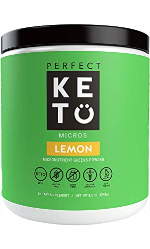 Perfect Keto Greens Superfood Powder: Super Micro Green Drink & MCT Oil, Best as Low Carb Ketogenic Diet Supplement for Ketosis, Amazing for Ketones and Athletic Diets, Lemon
