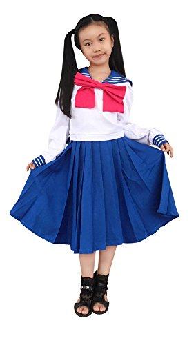 DAZCOS Kids Girls Crystal Tsukino Usagi Mercury School Uniform Sailor Dress Cosplay Costume (Child Small)
