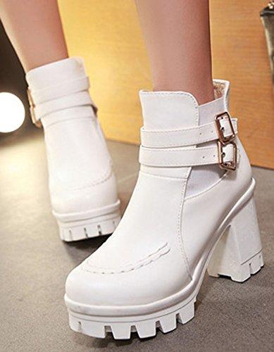 White Round High Ankle Booties Women's Zip Stylish Easemax Buckle Platform Zip Up Toe Up w6qHIxPIO