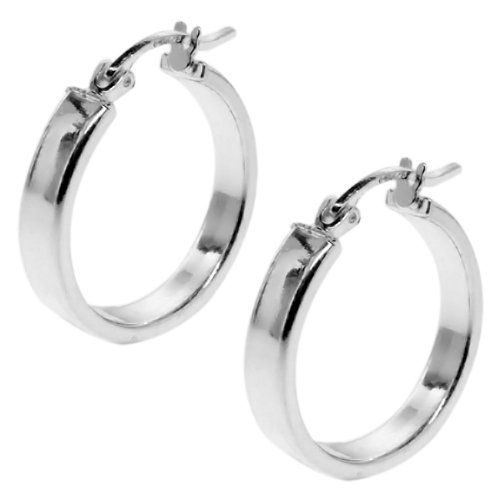 Gem Stone King 1.00 Inch 925 Sterling Silver Tarnish-Free Hoop Earrings Thickness is 3.00mm