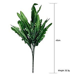 FYYDNZA 1 Bunch 7 Forks Plastic Green Plant Simulation Fern Green Grass Artificial Plants For Home Room Decoration,As Picture 70