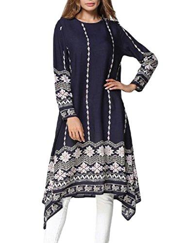 Purplish Length Blue Women's Mid Long Printing Pullover Sleeve Comfy Dress CSqx6Rw