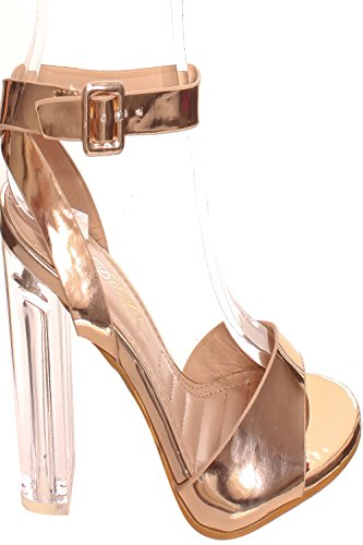 Lolli Couture Triple Strap Platform 6 Inch High Heel Rosegold-chacha-9 4PF6i2Y