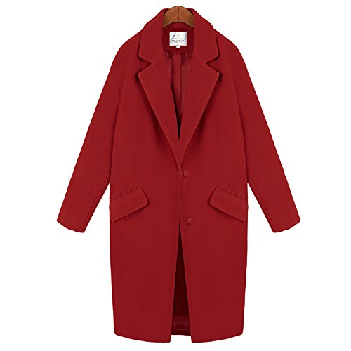 In Loose Long Xuanku Women Slim Woolen Was Woolen Jacket The Long red Coats 6Y1HqwpHW4