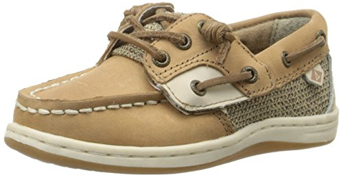 Sperry Girls' Songfish A/C Boat Shoe (Toddler/Little Kid), Linen/Oat, 9 M US Toddler ()