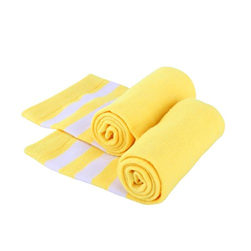 Mystylees Women's Yellow Knee High Striped Socks with Three White Stripes