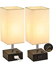 USB Table Lamp, Dreamholder Bedside Desk Lamp with 3 USB Charging Ports, Black Base Nightstand Lamp with Cream Fabric Shade, Perfect Lamps for Bedroom, Living Room, Office (Pack of 2)