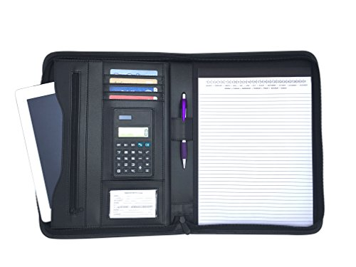 Executive Padfolio With Built in 8.5 by 11 Notepad and Calculator: Holds Business Cards, Interview Resume,Checks with NOTEPAD (Original Black) - Executive Calculator Padfolio