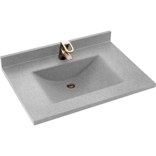 Swanstone CV02237.053 Contour Solid Surface Single-Bowl Vanity Top, 37-in L X 22-in H X 6.25-in H, Tahiti Gray
