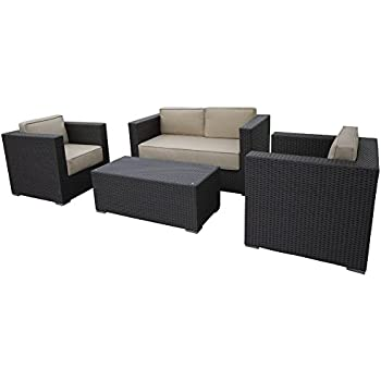 Elegant Abba Patio 4 Pcs Outdoor Brown Wicker Patio Furniture Set Garden Lawn Sofa  With Cushioned Seat