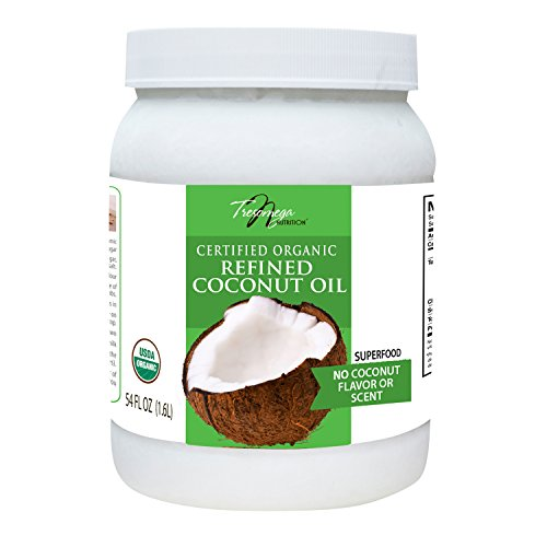 Tresomega Nutrition-Organic Refined Coconut Oil-A Superfood Expeller-Pressed For Cooking, Baking, Health, and Beauty-54 oz. Jar (Refined Expeller Pressed Coconut Oil For Skin)