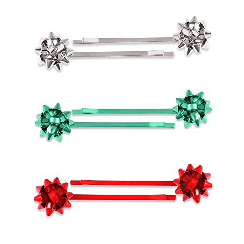 Christmas Gift Bow Hair Clip Hairpin Headdress Hair Bows Alligator Clips Cute Hair Accessories For Kids Girls 3pairs (silver 01)