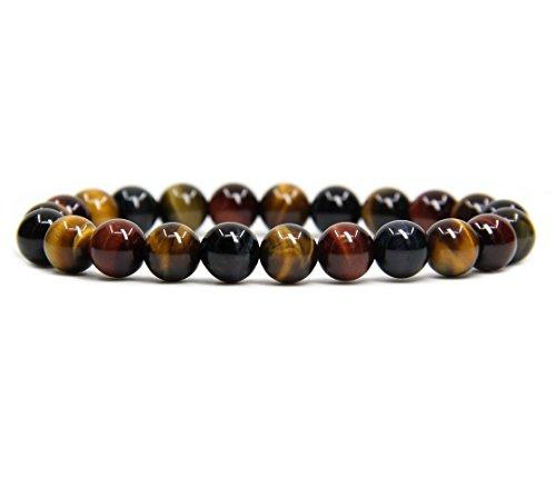 AA Grade Multi Tiger Eye Gemstone 8mm Ball Beads Stretch Bracelet 7