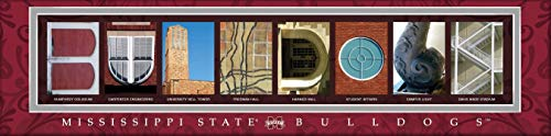 Charming Print Dog (College Campus Letter Art Mississippi State Bulldogs Bold Print Unframed Poster 22x6 Inches)