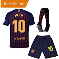 Barcelona #10 Messi Home Kids and Youth Soccer Jersey &...