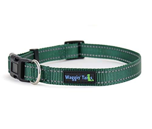 Waggin Tails Classic Reflective Dog Collar (Medium, Hunter Green)