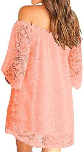 MIHOLL Women's Off Shoulder Lace Shift Loose Mini Dress 2