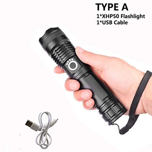 (30000 Lumens Lamp Xhp50.2 Most Powerful Flashlight Usb Zoom Torch Xhp50 18650 Or 26650 Rechargeable Battery Hunting,Type A)
