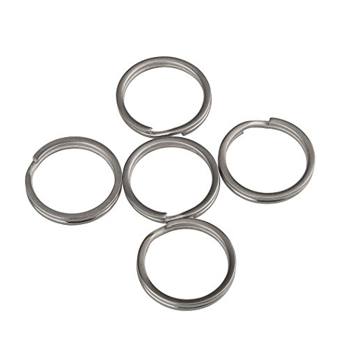 TI-EDC Key Rings Titanium Split Keychain Flat(Pack of 5) 25mm ()