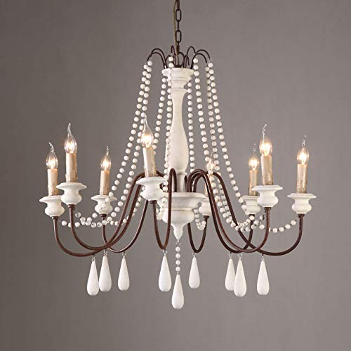JiuZhuo French Country Candle-Style 8-Light Wood Bead Swag 1-Tier White Wooden Chandelier