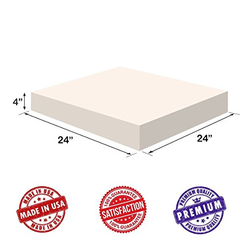 Upholstery Visco Memory Foam Square Sheet- (4''Hx24''Wx24''L, 2.5 lb Regular Density) - Luxury Quality for Sofa, Cushions, Pillows - Dream Solutions USA by Dream Solutions USA (Image #2)