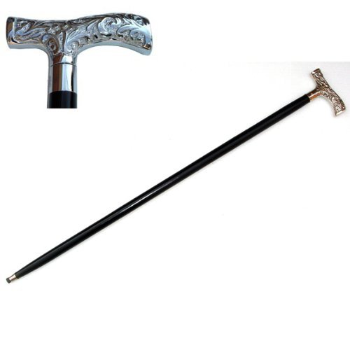 Steampunk Clothing- Men's Victorian Walking Stick Antique Nickel Plated Brass Handle Cane $29.99 AT vintagedancer.com