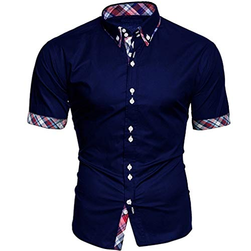 (Big Sale! Fastbot Men's Short Sleeve Shirt Lapel Button Plaid Stitching Business Polo T-Shirt)