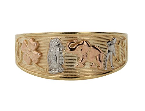 14k Yellow Gold Good Luck Horseshoe Clover Owl Elephant Thirteen Ring Size 9 -