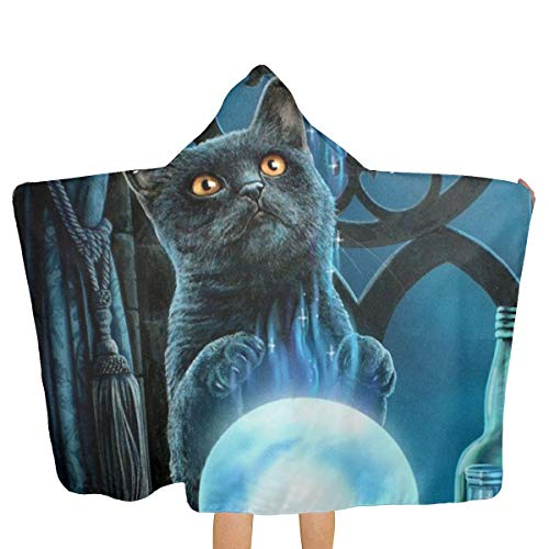 DerdYoaa Witch Cat Dreamcatcher Witches Tonic Magic Crystal Ball Towel Hooded Poncho Bath Beach Towels Bathrobes Kids Boys Girls Super Soft 50.5