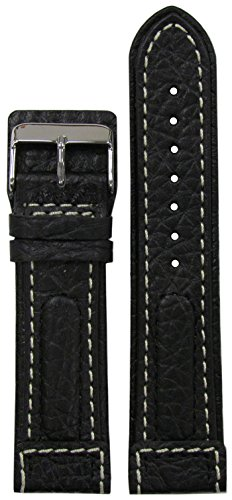 24mm Panatime Black Dimo Genuine Calf Leather Pilots Watch Band with White Stitching 120/80 ()