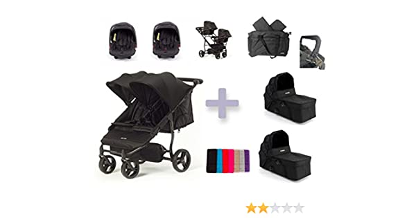 Baby Monsters Silla gemelar EASY TWIN 2.0 + 2 capazos color negro (Danielstore) + 2 Grupo 0 +
