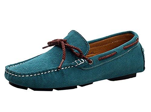 SK Studio Gamuza Mocasines Borlas Hombre Zapatos Del Barco Respirable Calzado de Cuero Zapatos de Conducción Mocasine Azul