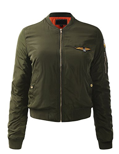 Top Gun Jacket Patches (ALL FOR YOU Women's Stylish Zip Up Bomber Jacket With Patch Olive)