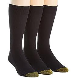 Gold Toe Men\'s Metropolitan Dress Sock, Charcoal, 3-Pack Sock Size 10-13