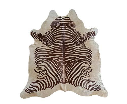 (Zebra Brown on Beige Cowhide Rug, Large Size 6ft. x 7ft. 180cm x 210cm - Brazilian)