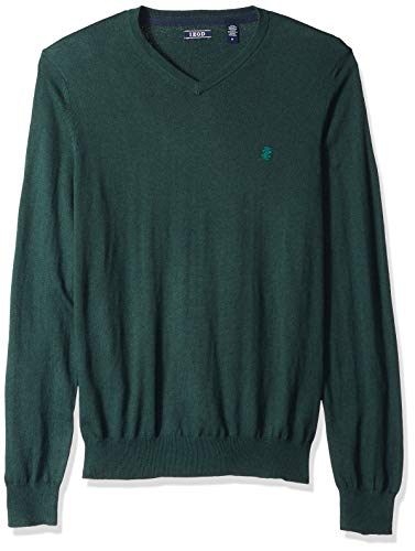 IZOD Men's Fine Gauge Solid V-Neck Sweater, Botanical Garden, Medium by IZOD