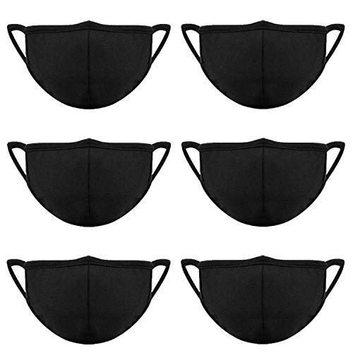 Teemico 6 Pack Anti-dust Cotton Mouth Black Face Masks Mouth Cover for Man and Woman