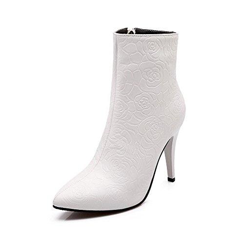 Allhqfashion Mujeres's Pointed Cerrado Dedo Del Pie Cremallera Pu Sólidos Spikes Stilettos Botas Blanco