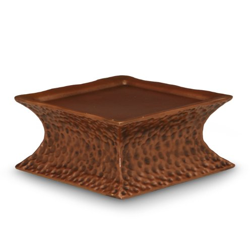 Square Hammered Pavilion Copper Pedestal, 2-3/4 by 5-1/2 by 5-1/2-Inch, Candle not Included