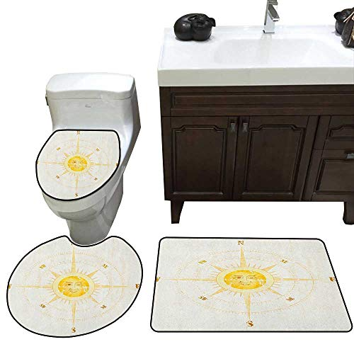 Compass Bathroom 3-Piece Mat Sets Vintage Boating Windrose with The Face of The Sun in The Middle North South East West Contour Mat Lid Cover Non-Slip with Rubber Backing Yellow